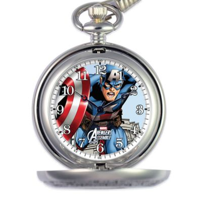 Marvel Men's 51mm Captain America Pocket Watch in Silver