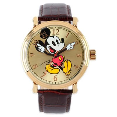 Disney® Mickey Mouse Men's 43mm Dancing Arms Gold Dial Watch with Brown Leather Strap
