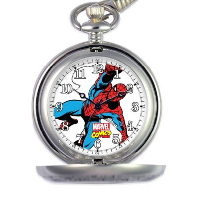 Marvel Men's 51mm Spider-Man White Dial Pocket Watch in Silver