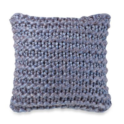 Kenneth Cole Reaction Home Douglas Iridescent Sweater Knit Square Throw Pillow in Blue
