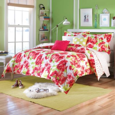 Teen Vogue® Painted Poppy Twin Comforter Set in Red