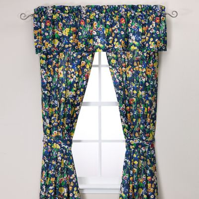 Teen Vogue® Folksy Floral 84-Inch Window Panel Pair in Navy