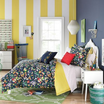 Teen Vogue® Folksy Floral Twin Comforter Set in Navy
