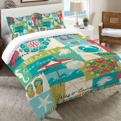 Laural Home® Coastal Party Twin Duvet Cover in Multi
