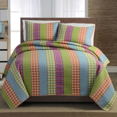 Bright Plaid Stripe Full/Queen Quilt Set