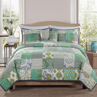 Chevron Green Block Full/Queen Quilt Set