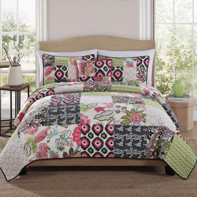 Gypsy Pink Block Twin Quilt Set