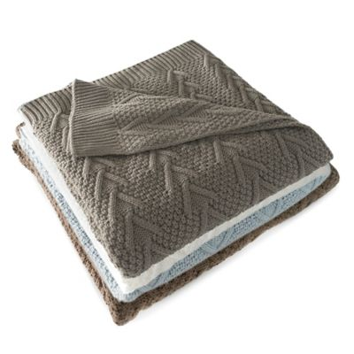 Flatiron Home Cable Knit Throw in Light Grey