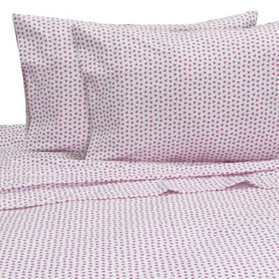 Melanie and Max Hearts Twin Sheet Set in Pink