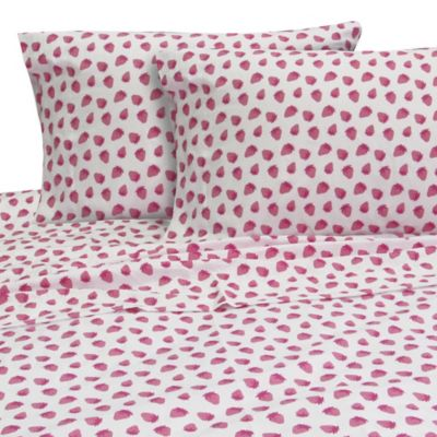 Melanie and Max Strawberries Twin Sheet Set in Red