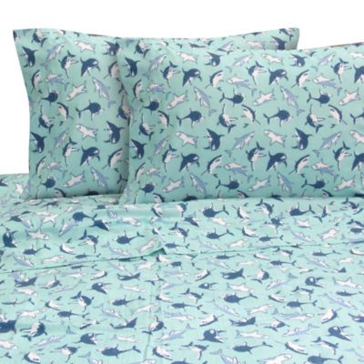 Melanie and Max Jaws Twin Sheet Set in Aqua