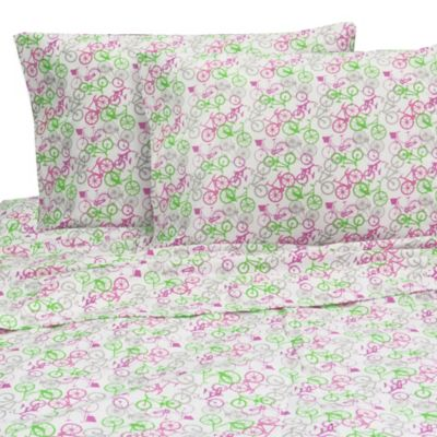 Melanie and Max Bikes Twin Sheet Set in Pink