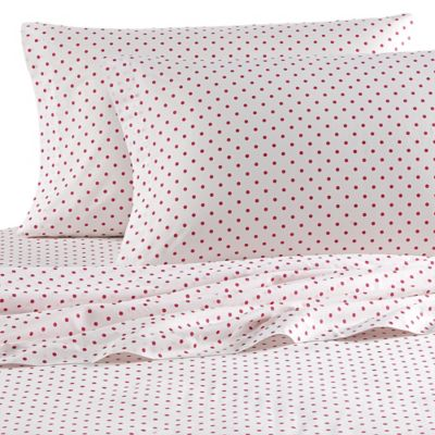Teen Vogue® Polka Dot Queen Sheet Set in Raspberry