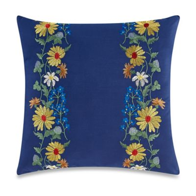 Teen Vogue® Folksy Floral Square Throw Pillow in Navy
