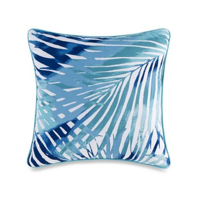 Electric Beach Square Throw Pillow in Coral