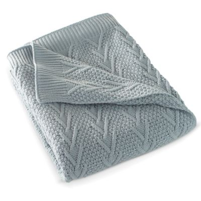 Flatiron Home Cable Knit Throw in Light Blue