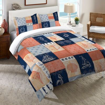 Laural Home® Coastal Twin Duvet Cover in Coral/Navy