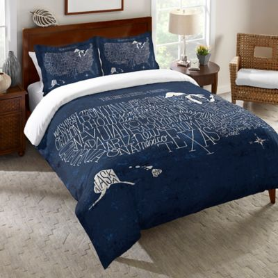 Laural Home® Hand Lettered US Map Blueprint Twin Duvet Cover in Blue