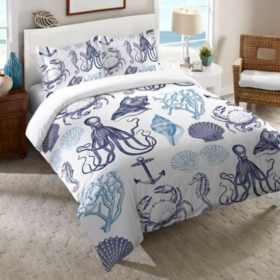Laural Home® Navy Coastal Creatures Twin Duvet Cover in Blue