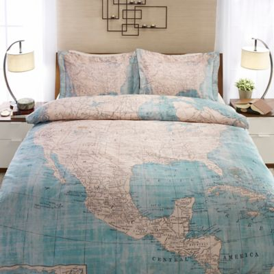Laural Home® North American Map Twin Duvet Cover in Beige