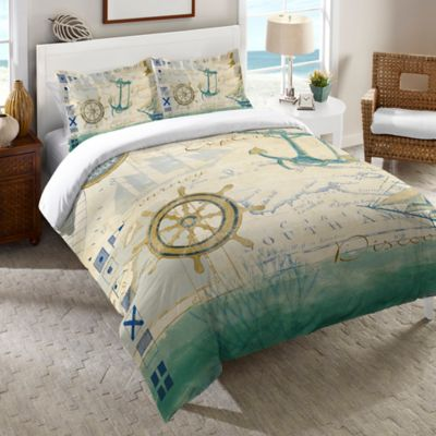 Laural Home® Mariner's Sentiment Twin Duvet Cover in Blue
