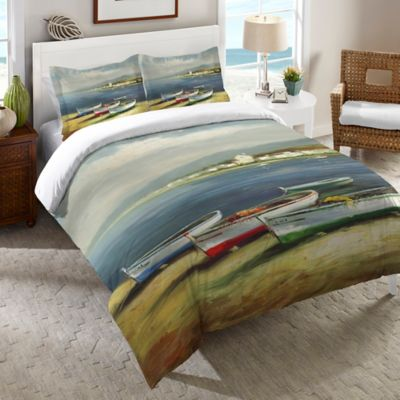 Laural Home® Boats on the Beach Twin Duvet Cover in Multi