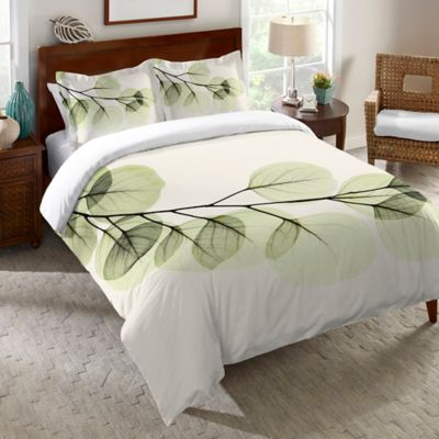 Laural Home® Eucalyptus X-Ray Twin Duvet Cover in Green