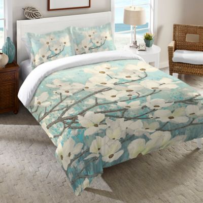 Laural Home® Dogwood Blossoms Twin Duvet Cover in Blue