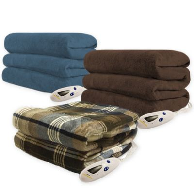 Biddeford Blankets® Microplush Heated Throw Blanket in Brown Plaid