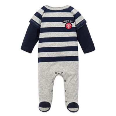 Guess® Size 3-6M Long Sleeve Footed Coverall in Navy/Grey