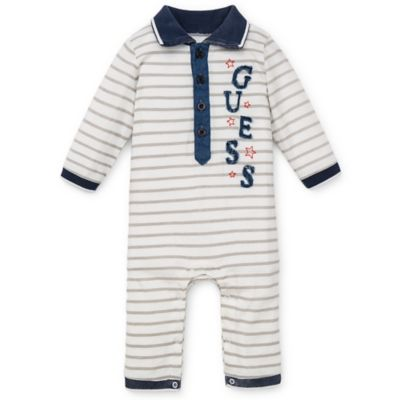 "Guess® Size 6-9M Stars and Stripes ""Guess"" Long Sleeve Coverall in White/Grey"