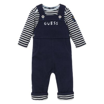 Guess® Size 6-9M 2-Piece Long Sleeve T-Shirt and Overall Set in Navy/White