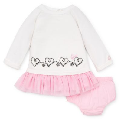 Guess® 2-Piece Long-Sleeve Hearts Dress and Panty Set in Pink/Ivory