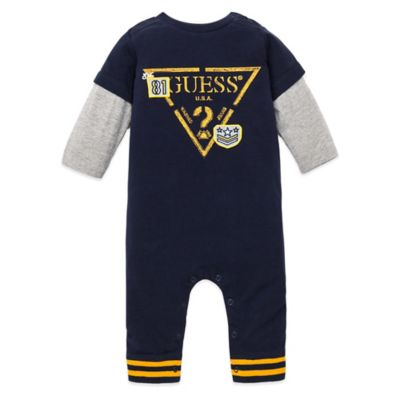 Guess® Size 6-9M 2-Fer Triangle Long Sleeve Footless Coverall in Navy/Yellow/Grey