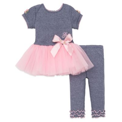 Guess® Size 6-9M 2-Piece Tutu Dress and Legging Set in Heather Grey/Pink