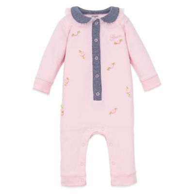 Guess® Size 6-9M Rosette Footless Coverall in Pink/Grey
