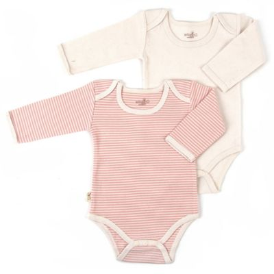 Tadpoles Size 0-3M 2-Pack Long Sleeve Bodysuits in Coral/White