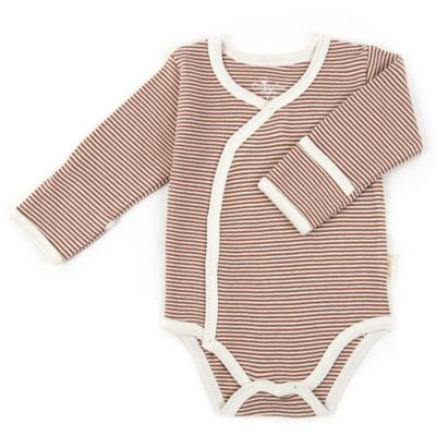 Tadpoles Size 0-3M Long Sleeve Kimono Striped Bodysuit in Cocoa