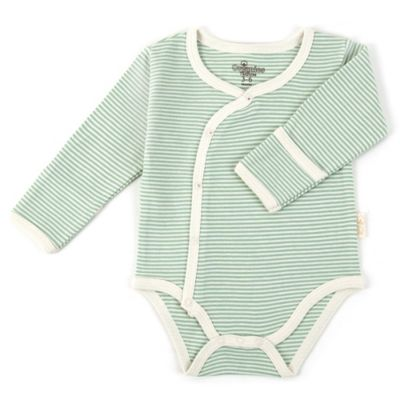 Tadpoles Size 0-3M Long Sleeve Kimono Striped Bodysuit in Sage