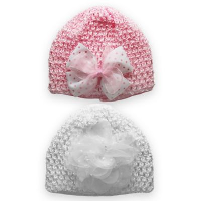 Stepping Stones Size 0-12M 2-Pack Bow Crochet Hat in Pink/White