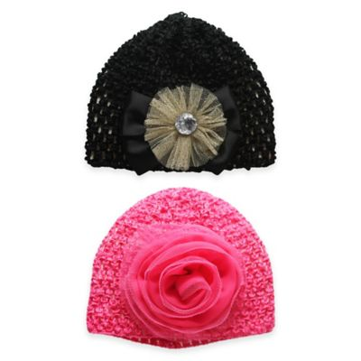 Stepping Stones Size 0-12M 2-Pack Crochet Hat in Black/Pink
