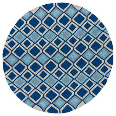 Kaleen Home & Porch Diamonds 7-Foot 9-Inch Round Indoor/Outdoor Rug in Blue