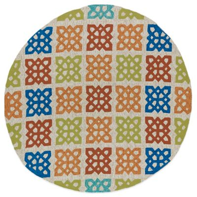 Kaleen Home & Porch Squares 7-Foot 9-Inch Round Indoor/Outdoor Rug in Sand