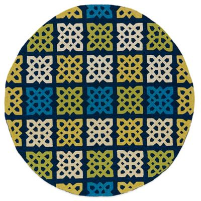 Kaleen Home & Porch Squares 7-Foot 9-Inch Round Indoor/Outdoor Rug in Blue