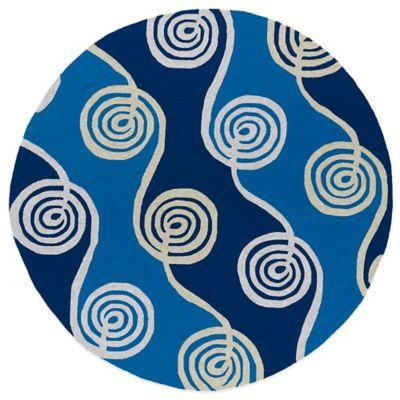 Kaleen Home & Porch Swirls 7-Foot 9-Inch Round Indoor/Outdoor Rug in Blue