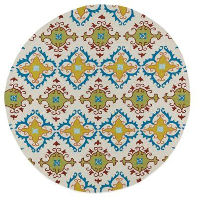 Kaleen Home & Porch Tiles 7-Foot 9-Inch Round Indoor/Outdoor Rug in Ivory