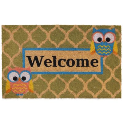 "22-Inch x 36-Inch ""Welcome"" Vinyl-Backed Coir Door Mat in Green"