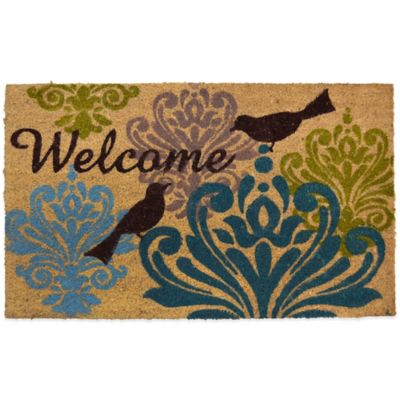 "22-Inch x 36-Inch ""Welcome"" Birds Vinyl-Backed Coir Door Mat"