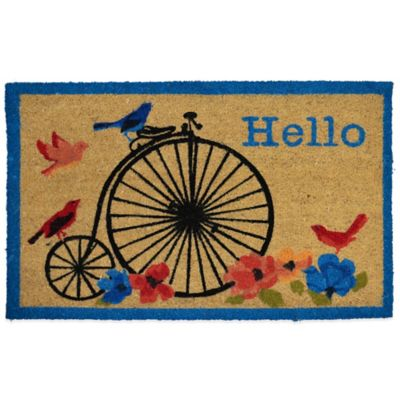 "22-Inch x 36-Inch ""Hello"" Vinyl-Backed Coir Door Mat in Beige"