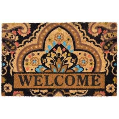"Fiesta® 22-Inch x 36-Inch ""Welcome"" Vinyl-Backed Coir Door Mat in Brown"
